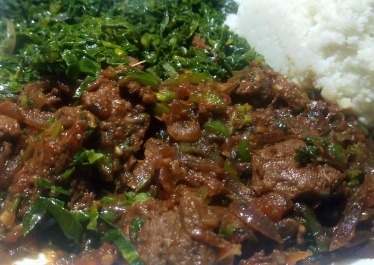 Recipe of Award-winning Kenyan Greens,Wet fry & Sima