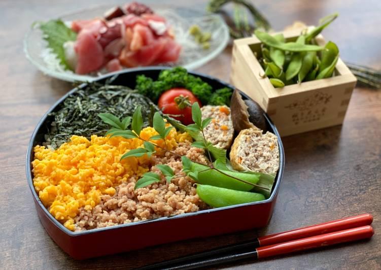 Steps to Make Award-winning Japanese 3-color Bento (Sanshoku Bento)