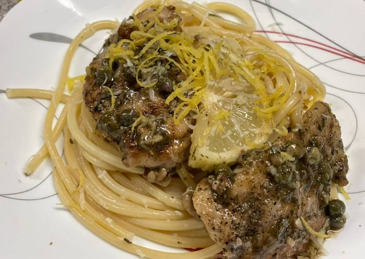 Recipe: Perfect Chicken Piccata over Lemon Basil Pasta