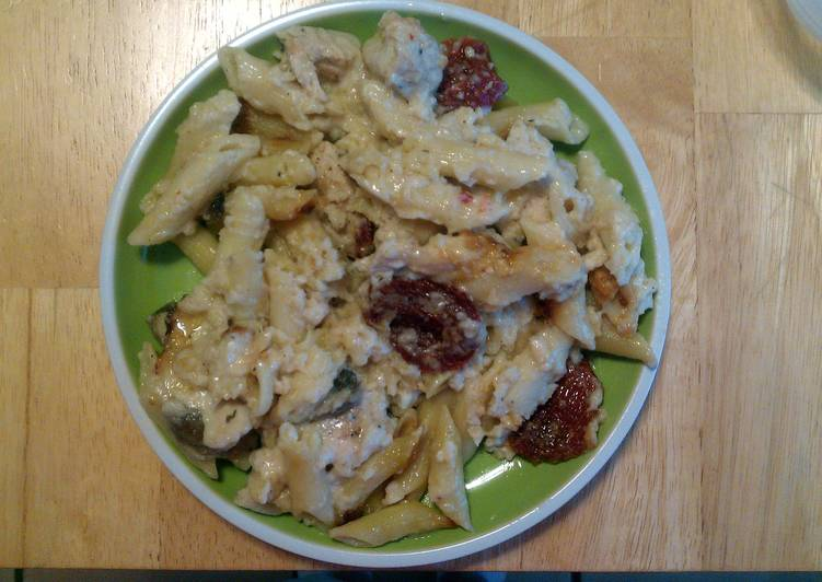 Recipe: Yummy Baked Penne with Chicken and Sun-Dried Tomatoes