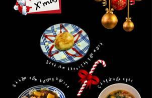 Bánh tôm khoai Tây yến mạch Gà hầm nấm hương- hạt sen Canh cá ngừ nấu ngót