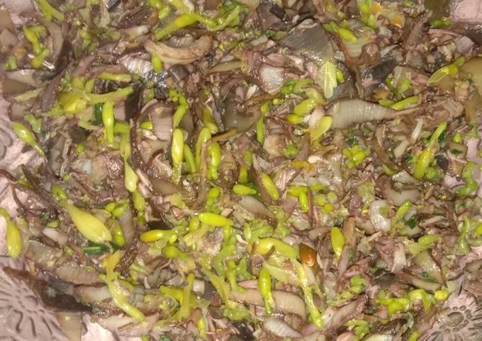 Tumis _ jantung pisang, daun pepaya & bunga pepaya sederhana