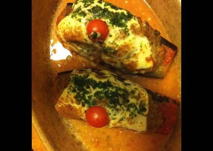 Aubergines au four farcies veau et mozzarella