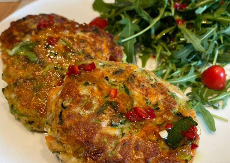 Halloumi, Courgette and Herb Cakes with a Chilli and Ginger dressing