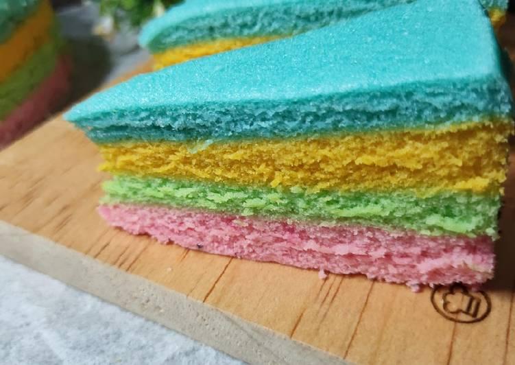 6 Bahan Masak Rainbow Cake Kukus Irit Telur Yang Cepat Cookandrecipe Com