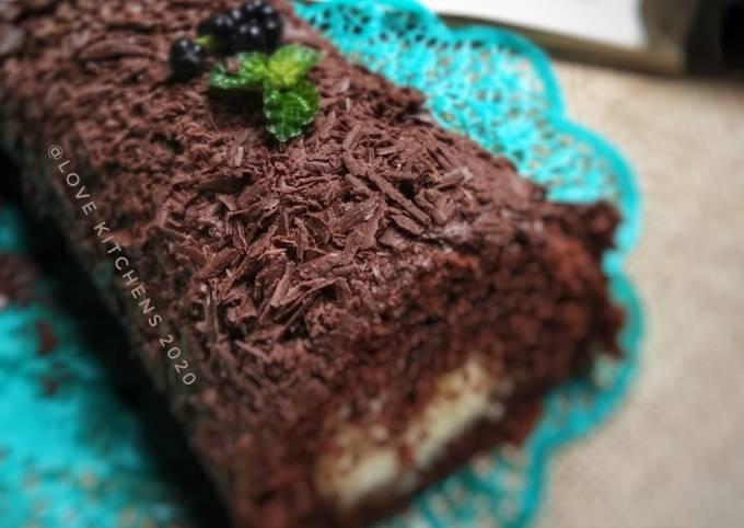 Chocolate roll cake--4 telur--