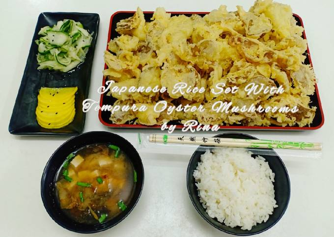 Japanese Rice Set With Tempura Oyster Mushrooms by Rina