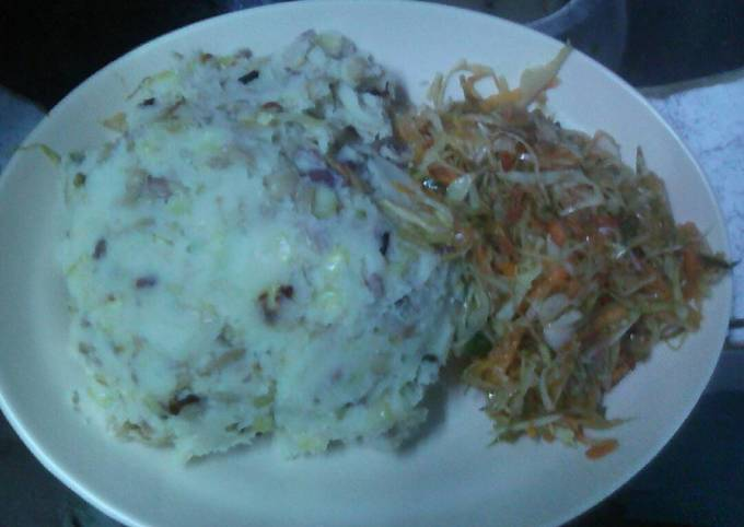 Mokimo with steamed cabbage