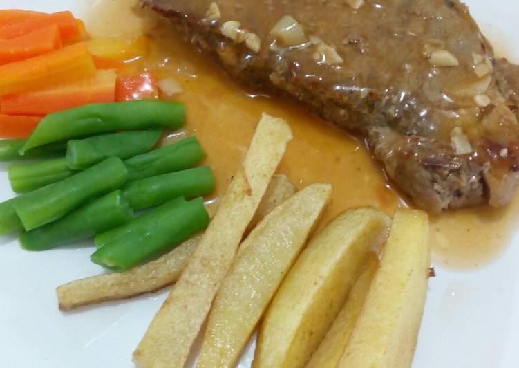 Beef steak brown sauce (ala rumahan)