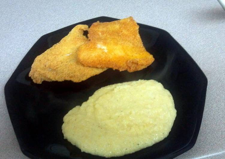 Recipe: Yummy Fried Swai & Cheddar cheese grits