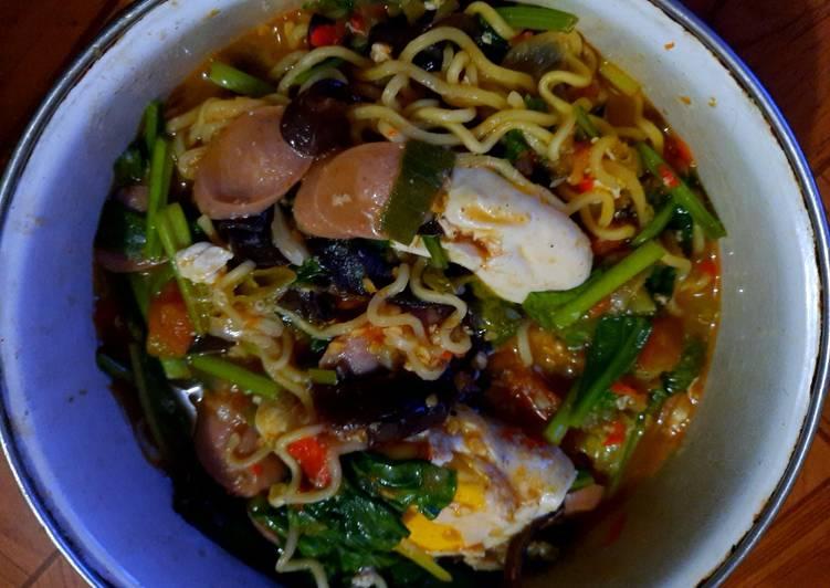 Resep Indomie sayur kuah pedas Paling Joss