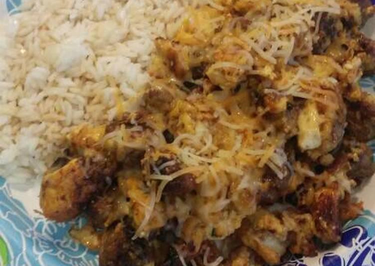 Teriyaki rice with bratwurst, potato, and scrambled eggs