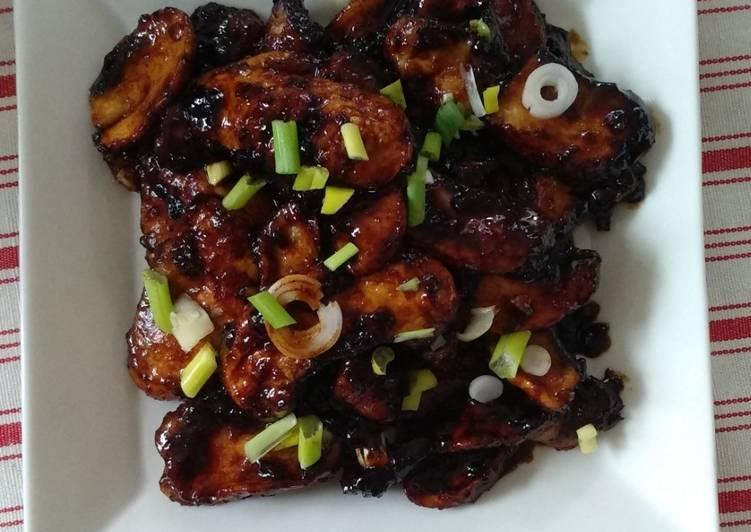 Asia Pilze in klebriger Sauce