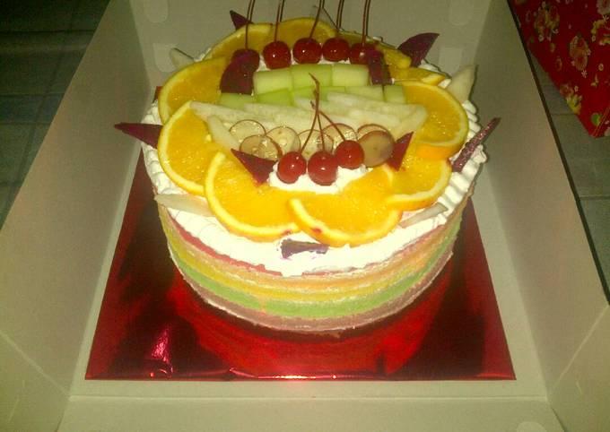 Rainbow cake toping buah special wedding