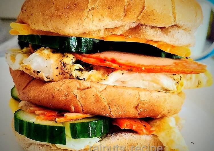 Recipe of Top-Rated Huge Salami egg Burger