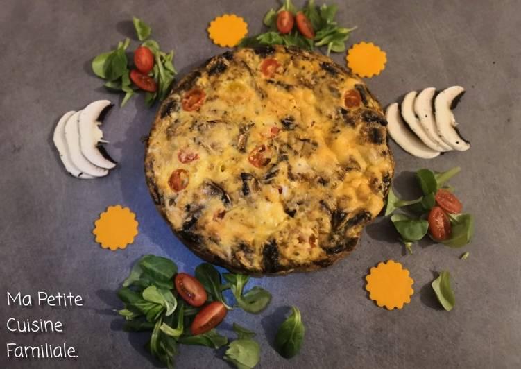 Omelette tomates cerises/champignons de Paris, cuisson au four