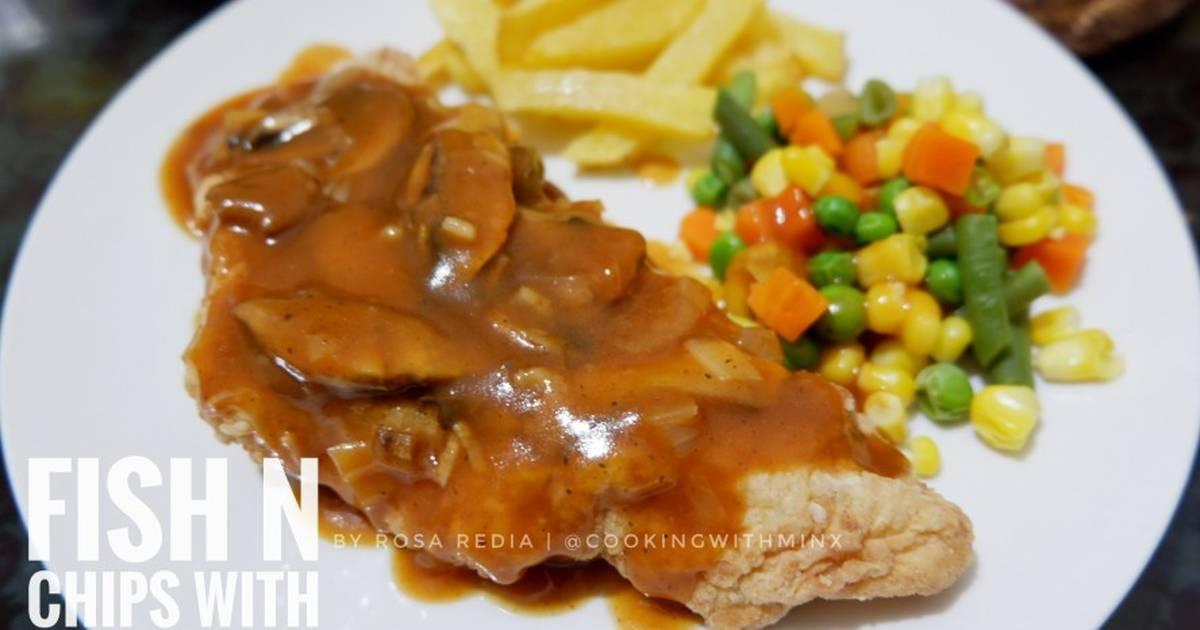 Resep Fish N Chips With Mushroom Gravy Crispy Dori Steak Oleh Rosa Redia Cookpad