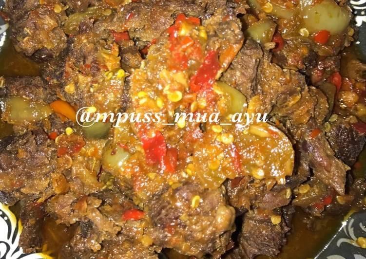 Tetelan sapi oseng sambal petir