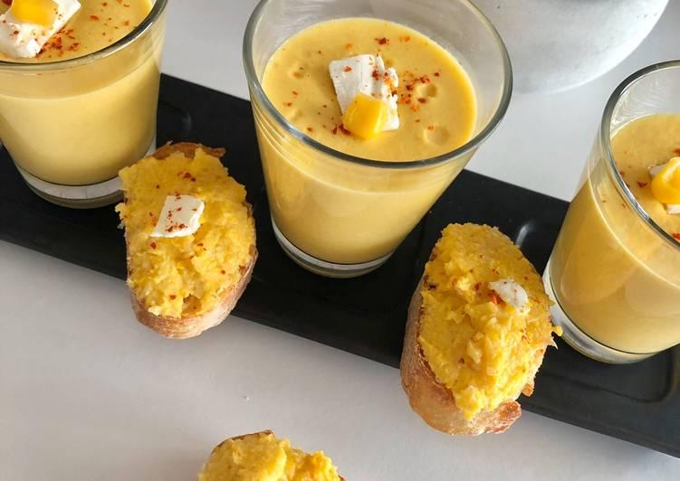 Gaspacho de maïs 🌽 et son toast à la tapenade de maïs