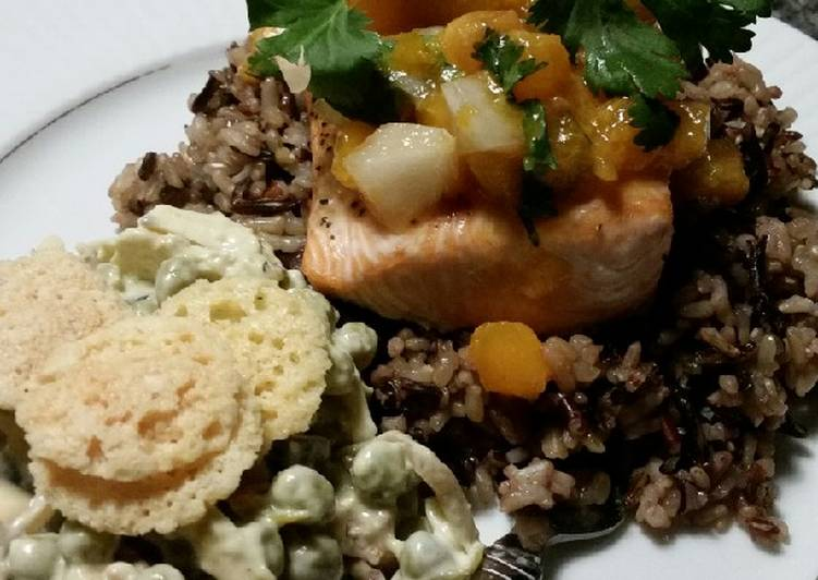 Easiest Way to Prepare Speedy Brad's salmon w/ apricot Pico & chunky Bleu cheese pea salad