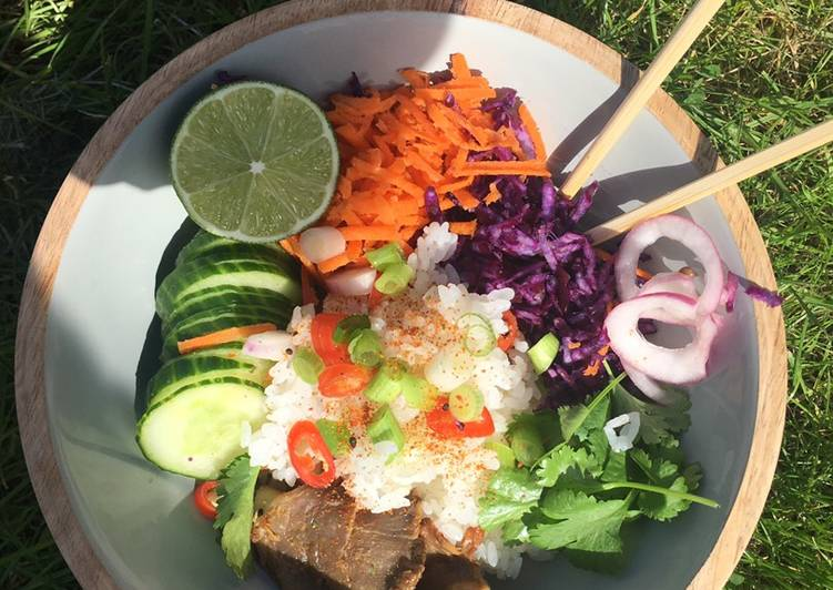 Miso mushroom vegan poke bowl #eattherainbow