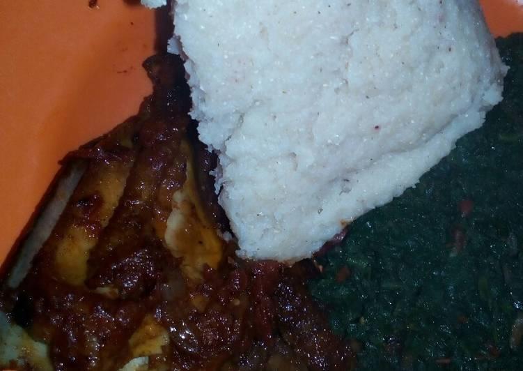 Kuku fry pumpkin leaves and ugali #ramadhancontest