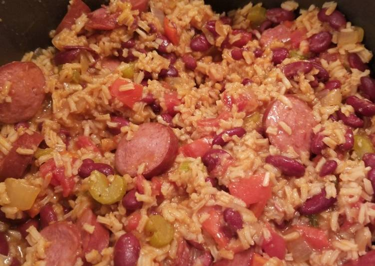 Recipe: Tasty Super Easy Red Beans and Rice with Sausage