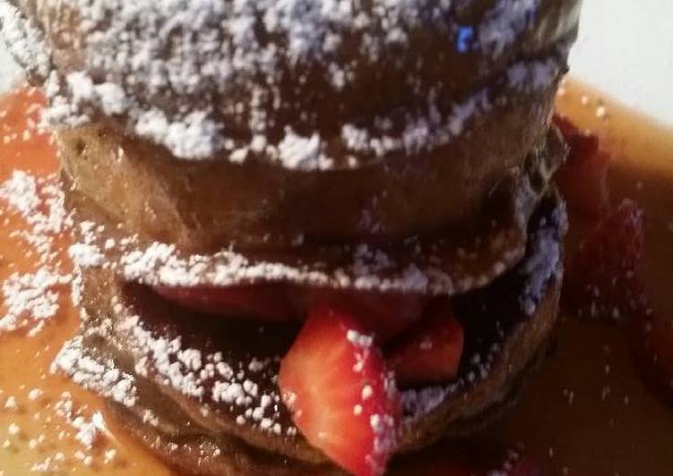 Chocolate Pannetone French Toast w/ Mascerated Strawberries