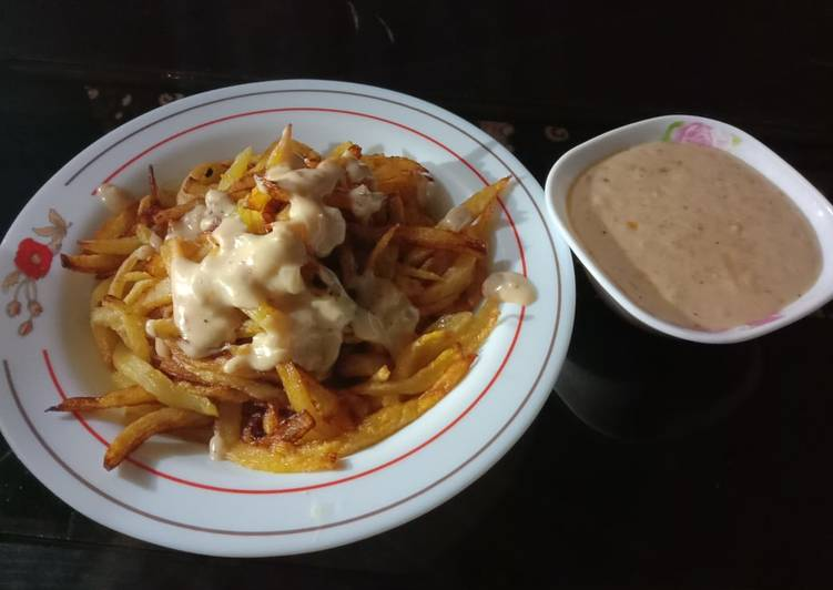 Recipe of Award-winning French Fries with white Sauce 🍟