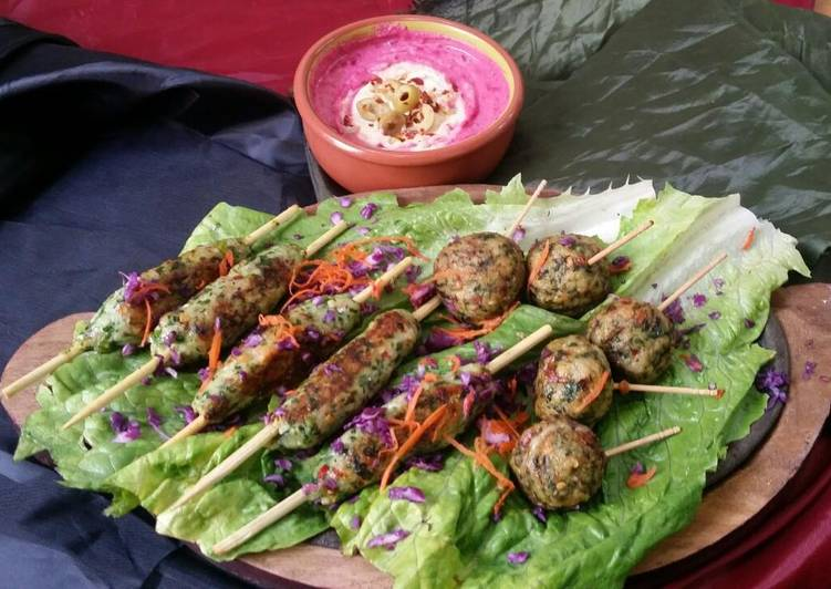 Chicken Kabab with Beetroot hummus