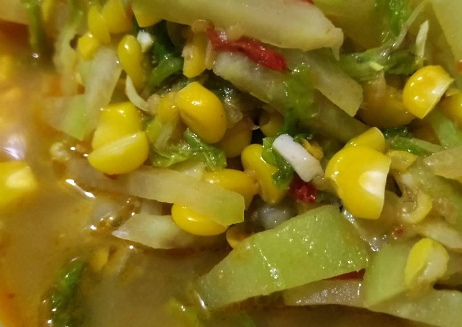 Resep Oseng labu, sawi putih dan jagung oleh irliana - Cookpad