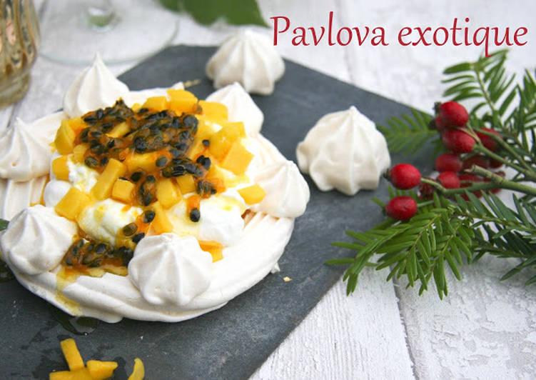 Pavlova exotique (sans gluten, sans lactose, option sans oeuf)