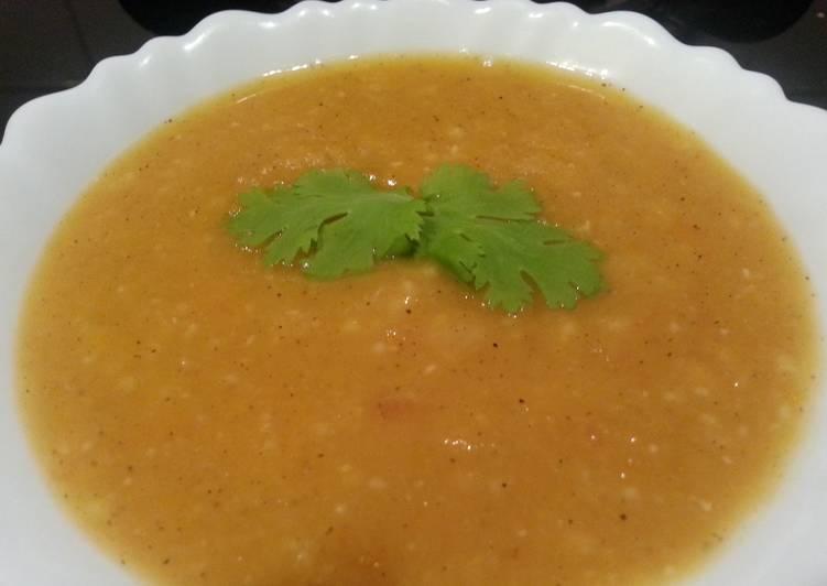 Pumpkin masoor dal soup