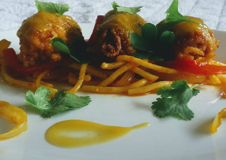 Recipe of Award-winning Plantain Kebabs with spaghetti ponzu