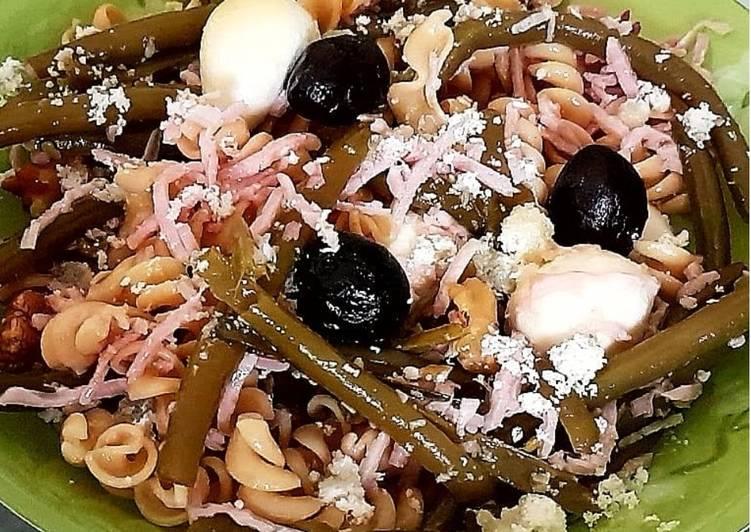 Salade de pâtes / haricot vert/ jambon / mozzarella