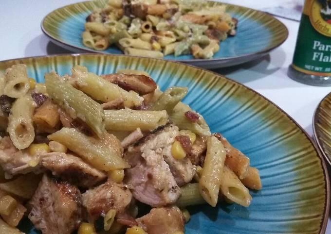 Chicken carbonara penne pasta