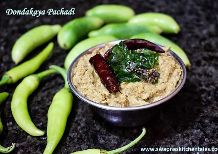 Dondakaya Pachadi (Ivy gourd/Tindora Chutney)