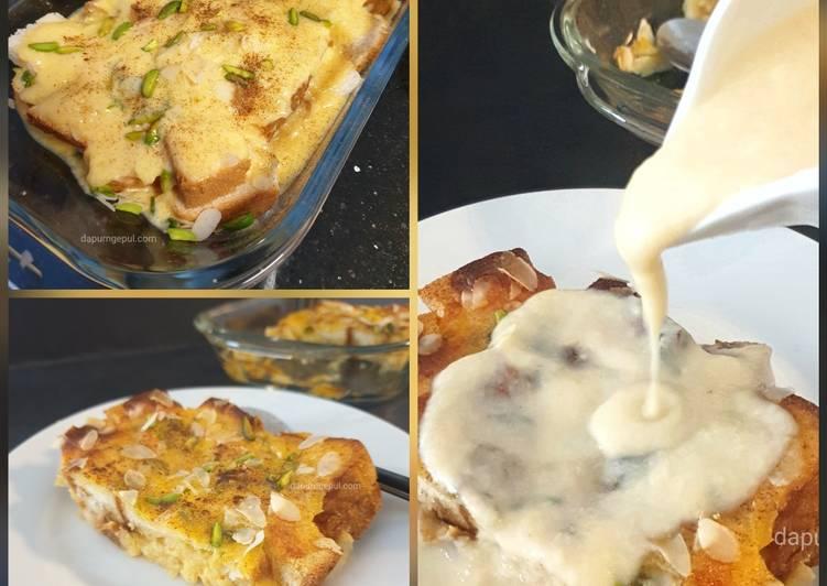 Pistachios & Almond Bread Pudding with Vanilla Sauce