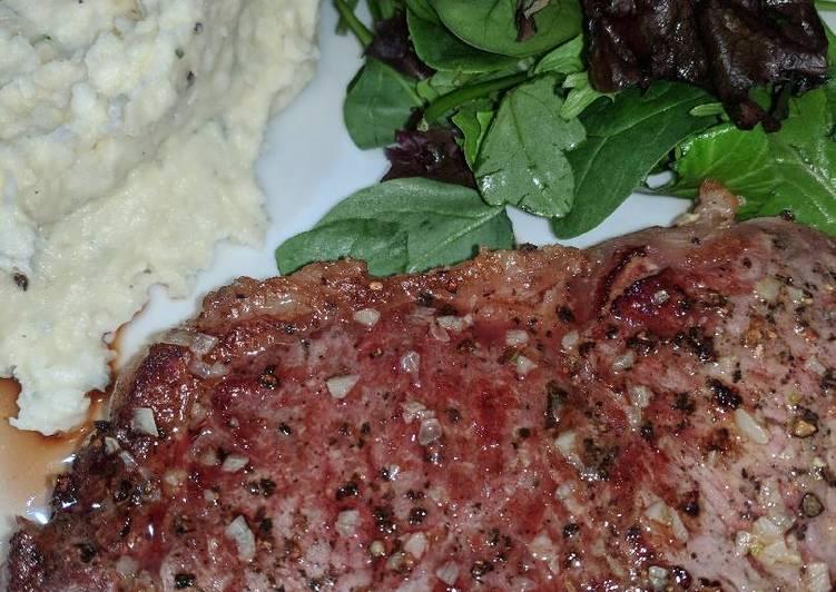 Pan Fried Porterhouse Steak w/ Garlic Butter and Rosemary