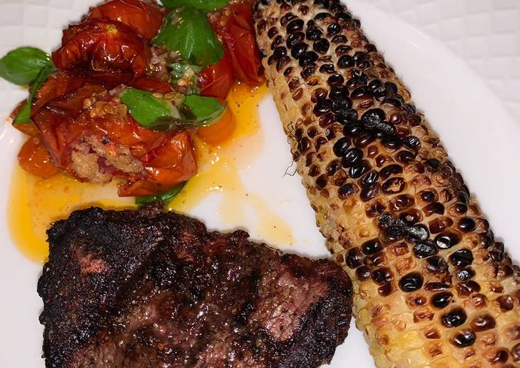 Simple Way to Prepare Super Quick Homemade Grilled Fillet Mignon with grilled corn and roasted garlic tomatoes 🍅