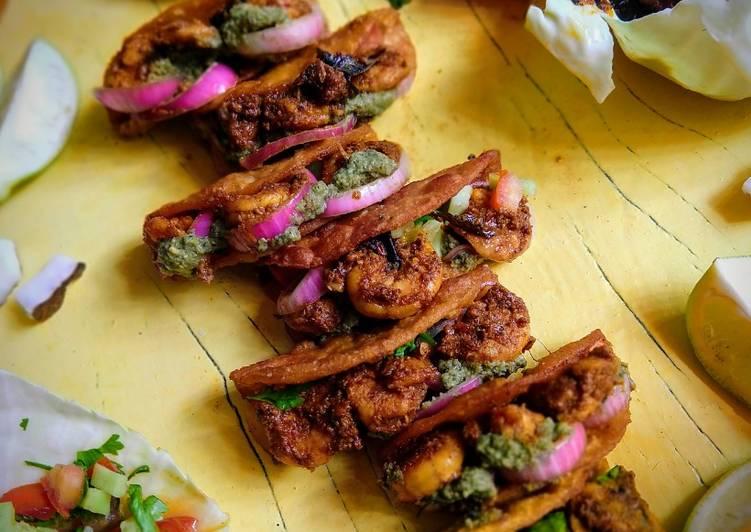 Ghee Roast Prawn Tacos