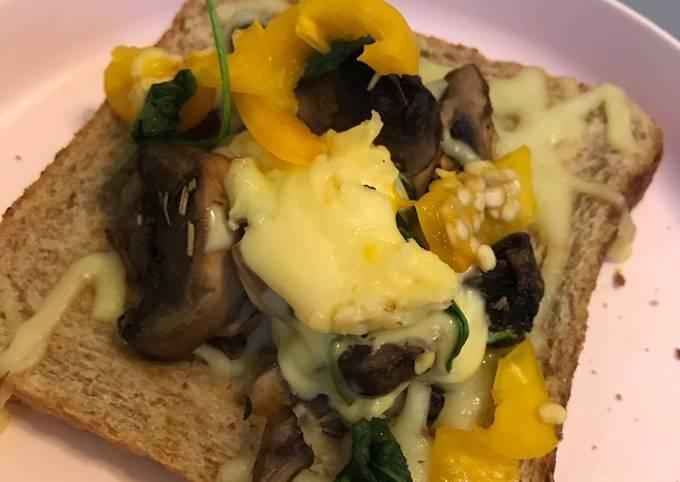 Lunch Sihat: Roti, Cendawan, Spinach dan Cheese