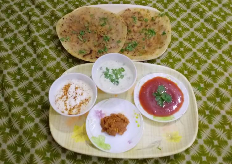 Steps to Prepare Super Quick Homemade DELICIOUS AALOO PARATHA WITH RAAIYTA ACHAR KETCHUP & TEA