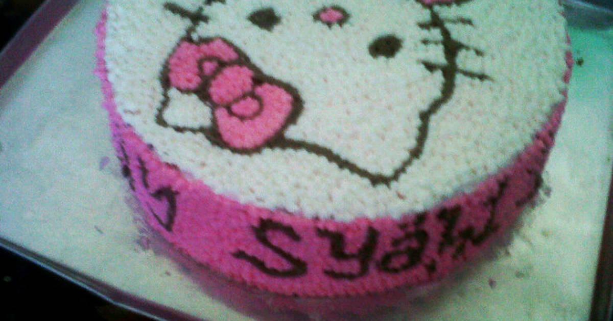 Resep Kue Ulang Tahun Hello Kitty Buttercream Sablon Oleh Syahla Mom Cuisine Cookpad