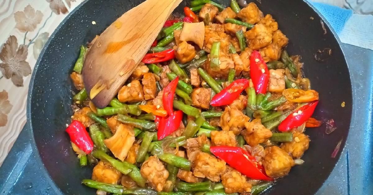 Resep Tumis Kacang Panjang Tempe Pedas Manis Oleh Suka Memasak Cookpad