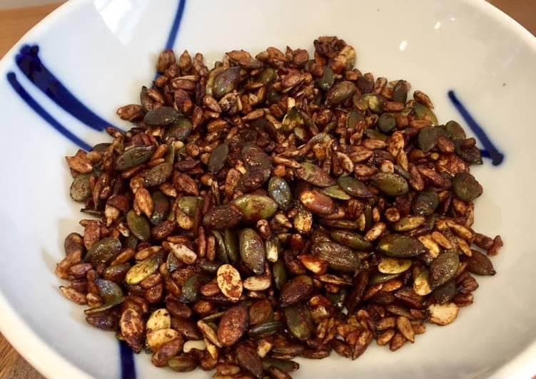 Easiest Way to Prepare Quick Salty Sweet Spicy Honey and Tamari Glazed Seed Snacks