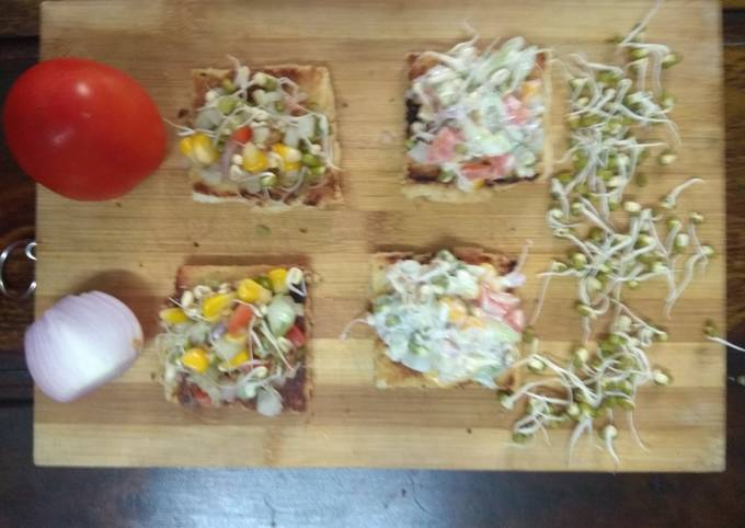 Healthy Moong sprouts canapes