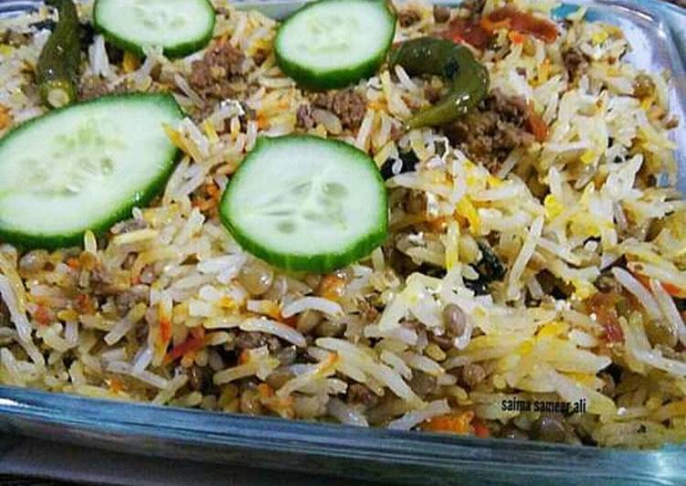 10 Minute Simple Way to Make Any Night Of The Week Masoor dal qeema pulao #cookpadapp