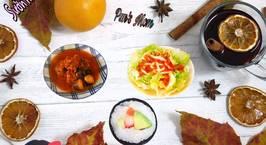 Hình ảnh món Sườn hầm nấm rơm chua ngọt Salad sốt cà chua
