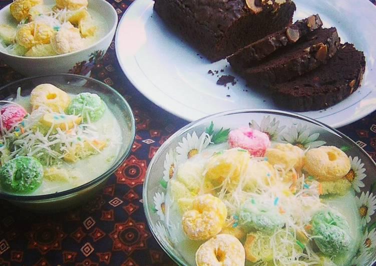 Brownies panggang irit dan es chocolatos green matcha.